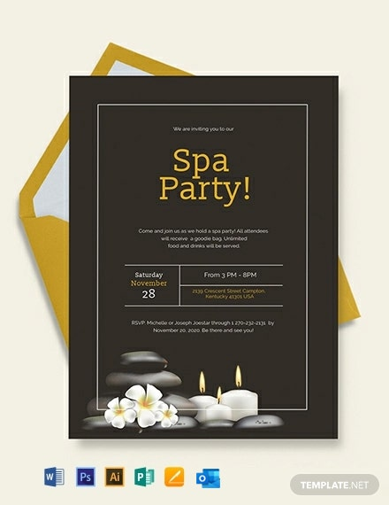 Spa Party Invitation Template