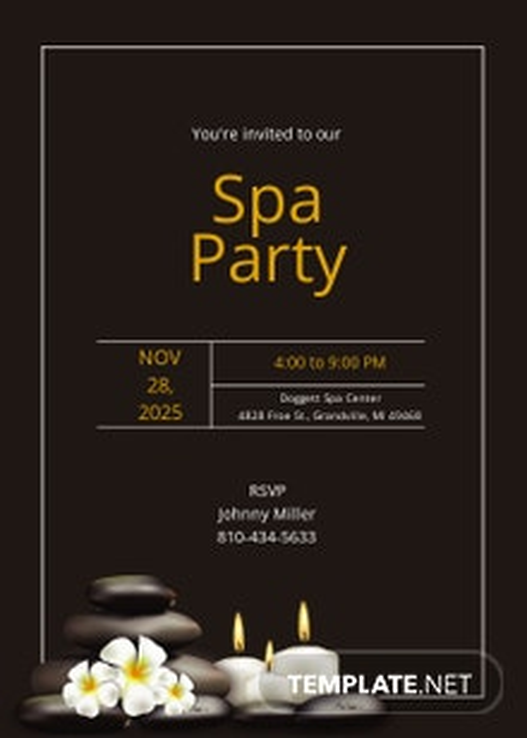 Spa Party Invitation Template