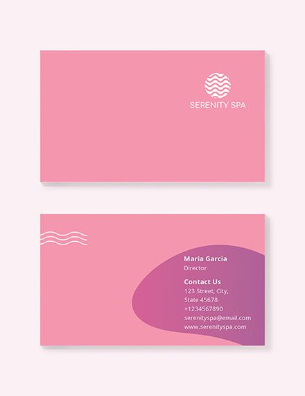 Sample Spa Business Card