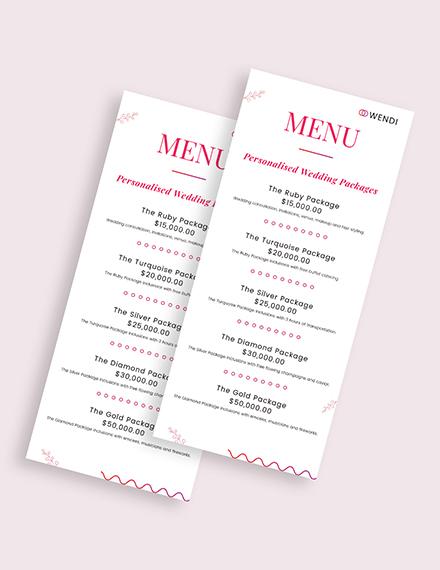 Wedding Planners Menu Download