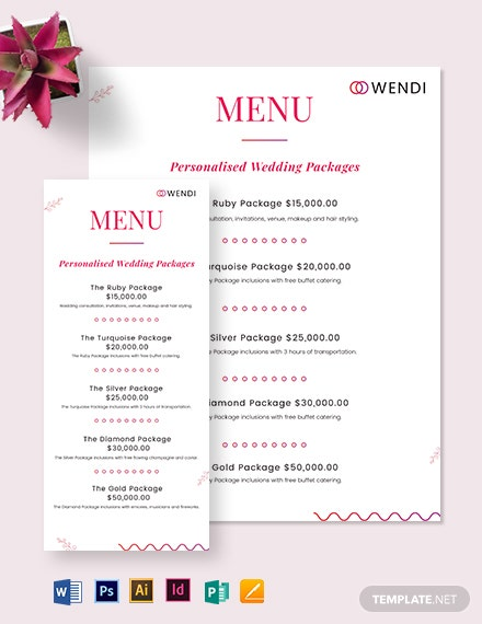 Wedding Planners Menu Template