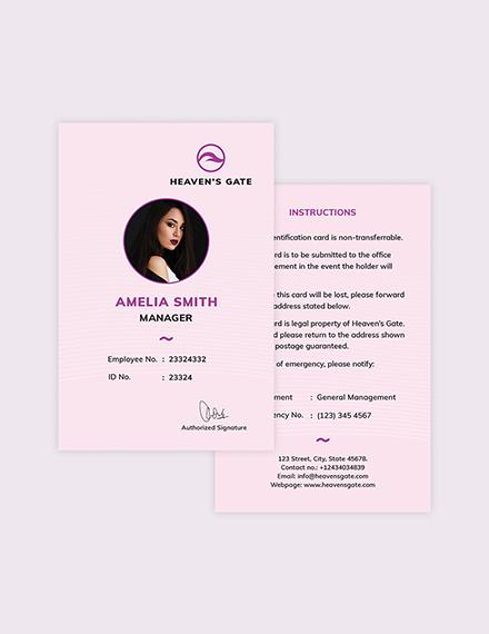 Sample Massage ID Card