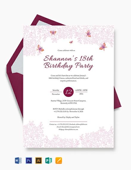 Teenage Birthday Invitation Template