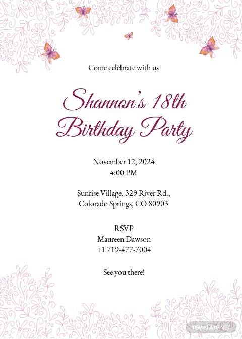 Teenage Birthday Invitation Template