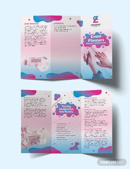 event planner trifold brochure
