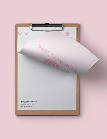 Sample Spa Letterhead