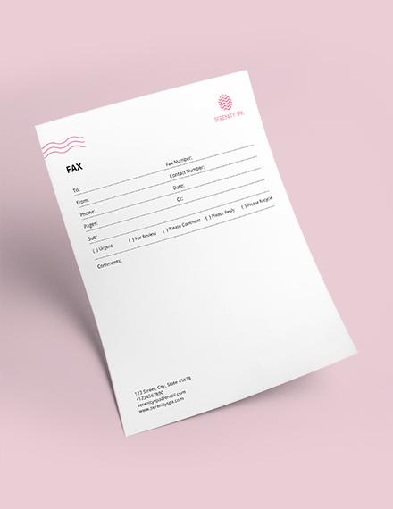 Sample Spa Fax Paper