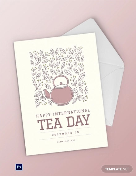 International Tea Day Greeting Card Template