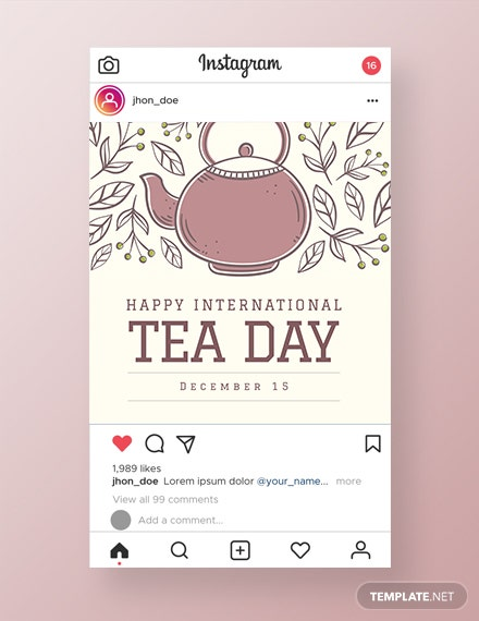 Free International Tea Day Instagram Post