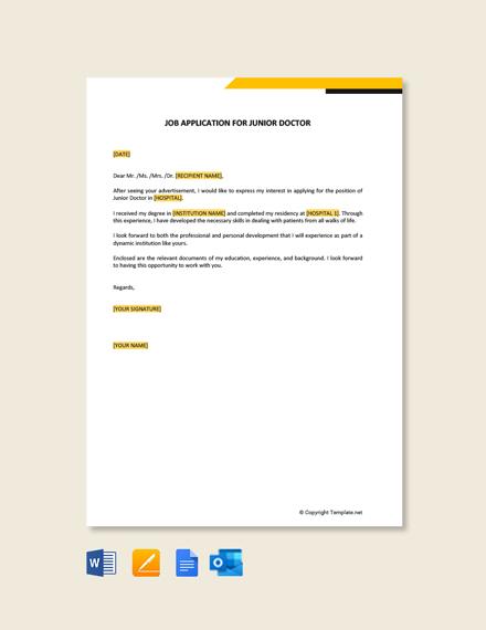 Job Application Letter for Junior Doctor