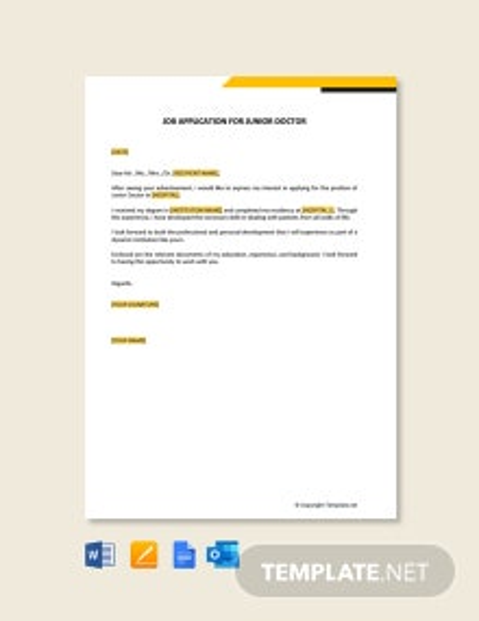 Free Job Application Letter for Junior Doctor