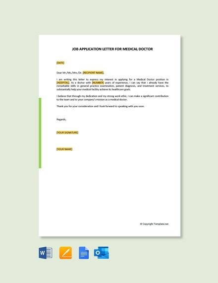 Job Application Letter for Medical Doctor