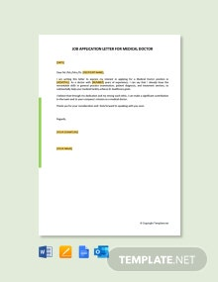 Free Job Application Letter for Medical Doctor