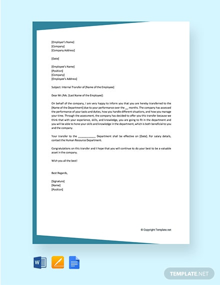 Free Employee Internal Transfer Letter
