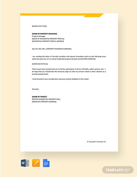 Free Tenant Complaint Letter To Your Property Manager