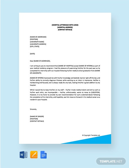 Free Recommendation Letter For Internship Completion