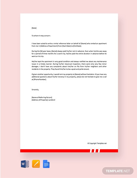 Free Business Reference Letter for Apartment