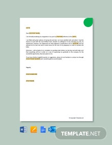 Free Immediate Resignation Letter due to Pregnancy Complications