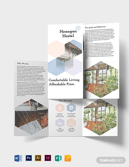 Hostel Tri Fold Brochure Template