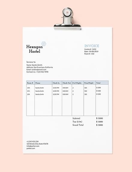 Hostel Invoice Template