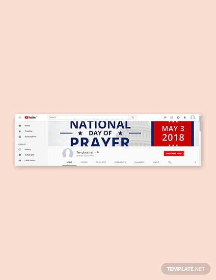 Free National Day of Prayer YouTube Channel Cover Template