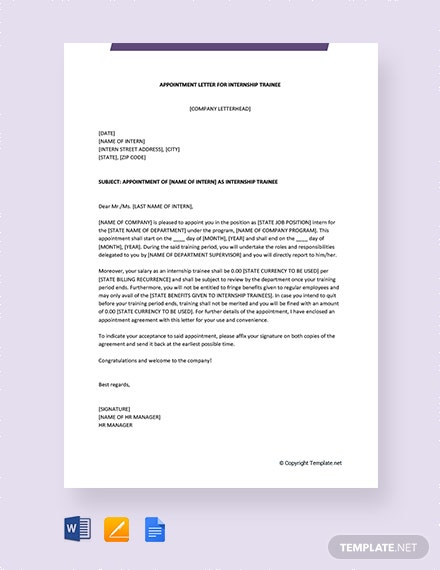 Free Appointment Letter For Internship Trainee