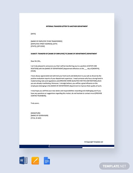 Free Internal Transfer Letter To Another Department