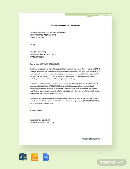 Free Maternity Leave Letter to Employer