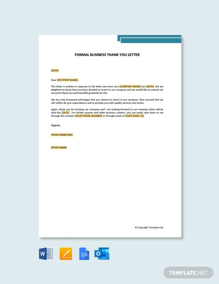Formal Business Thank You Letter