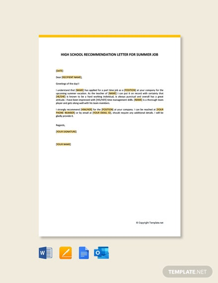 High School Recommendation Letter Template [Free PDF] - Google Docs, Word, Apple Pages