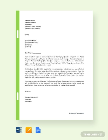 Free Promotion Recommendation Letter For Project Manager