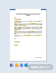 Free Promotion Recommendation Letter for Software Engineer