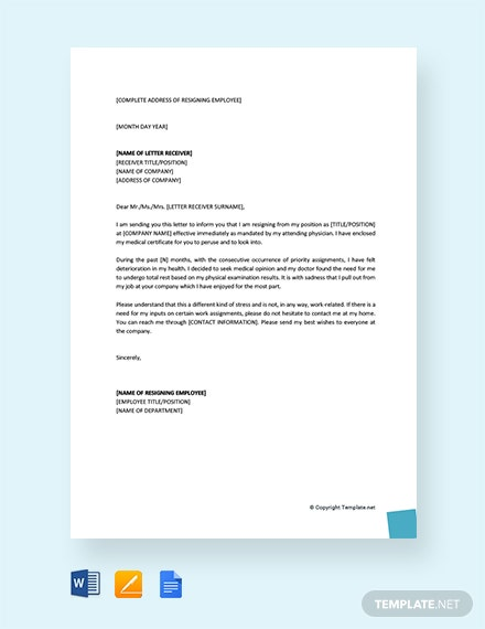 Free Resignation Letter Due To Health And Stress