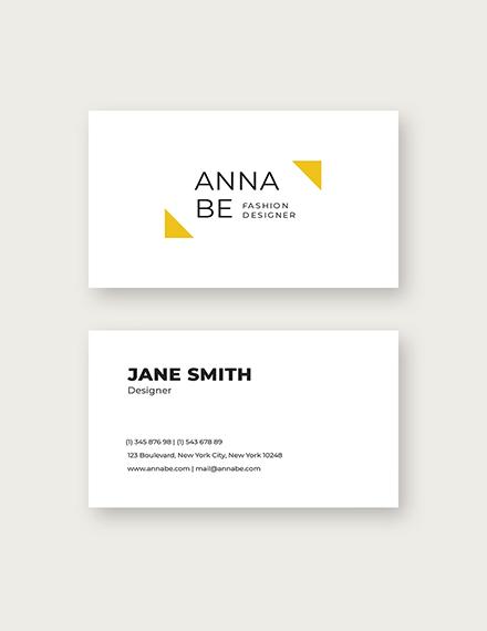 Sample Fashion Designer Business Card