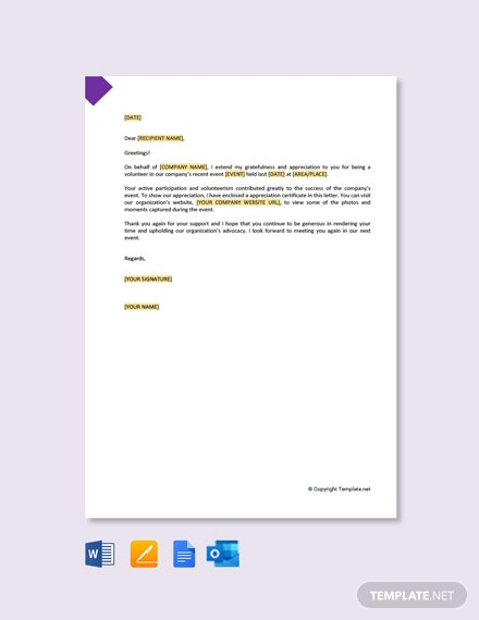 Volunteer Thank You Letter Appreciation Template