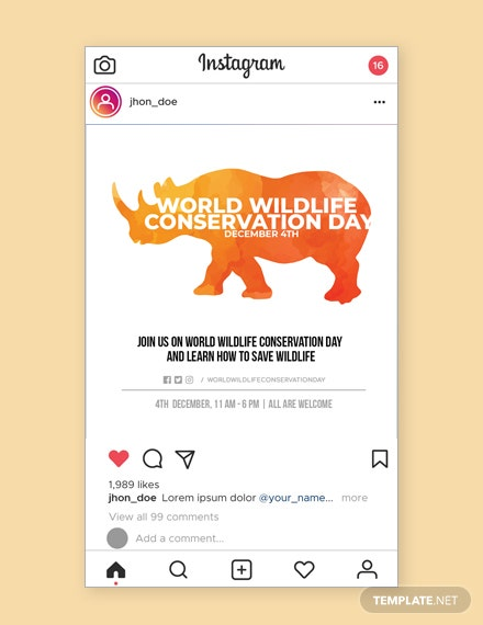 Free World Wildlife Conservation Day Instagram post