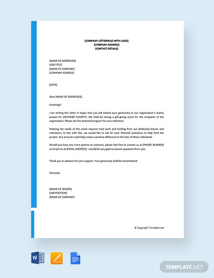 free solicitation letter for financial support template