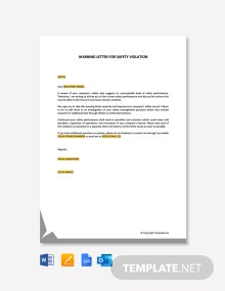 Free Warning Letter For Safety Violation