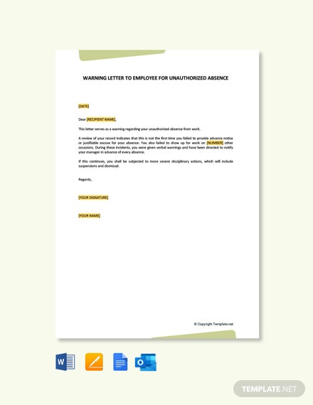 Free Warning Letter To Employee For Unauthorized Absence