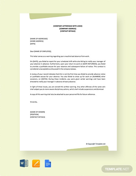 FREE Warning Letter To Employee For Unauthorized Absence Template