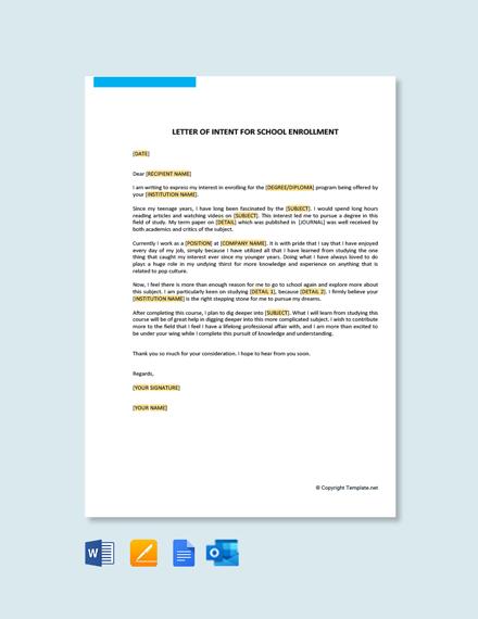 Free Letter of Intent for School Enrollment