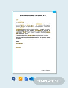 Free Internal Promotion Recommendation Letter