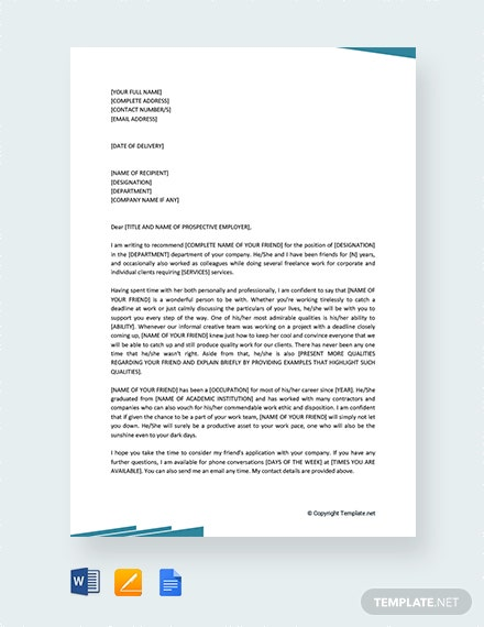 Free Job Recommendation Letter For a Friend