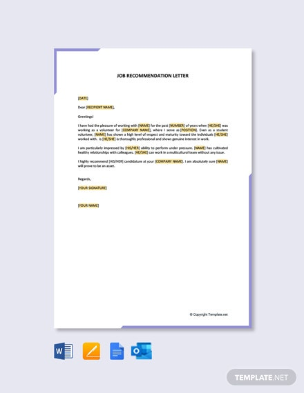 Free Job Recommendation Letter for Student