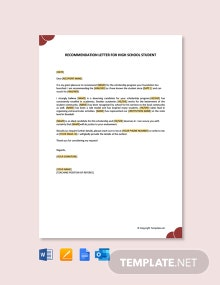 Free Recommendation Letter For High School Student