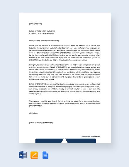 Free Babysitter Reference Letter