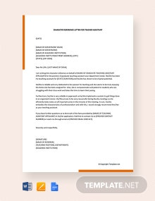 Free Character Reference Letter For Teacher Assistant