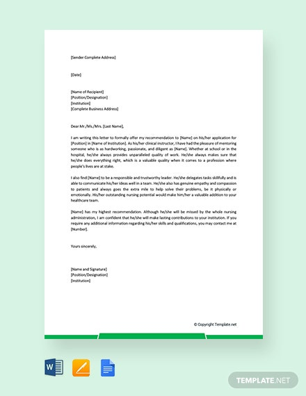 free nursing student reference letter template  download