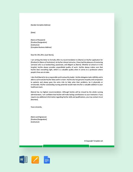 Free Nursing Student Reference Letter