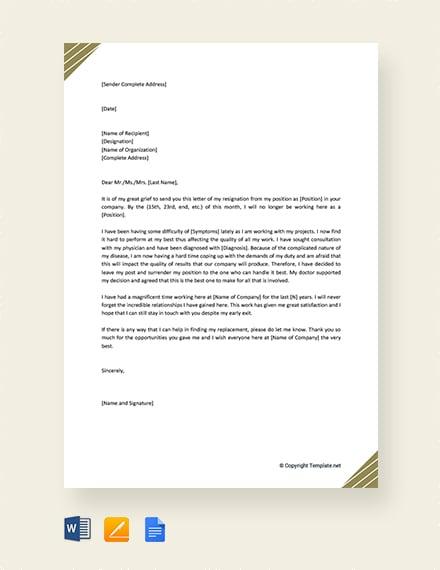 Free Medical Resignation Letter